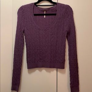 Free People Cropped Purple Knit Sweater
